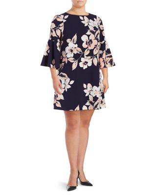 Plus Floral-Print Bell-Sleeve Shift Dress by Eliza J