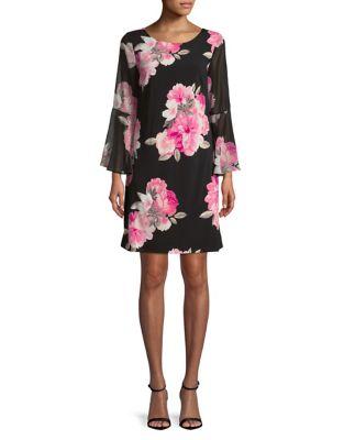 Plus Floral-Print Shift Dress by Eliza J