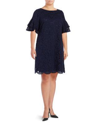 Plus Ruffle-Sleeve Shift Dress by Eliza J