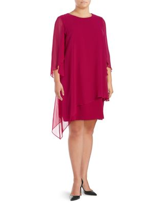 Plus Chiffon Cape Sheath Dress by Tahari Arthur S. Levine