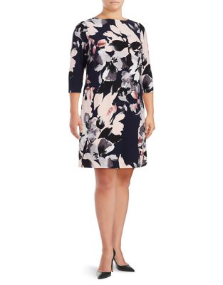 Plus Floral-Print Shift Dress by Vince Camuto