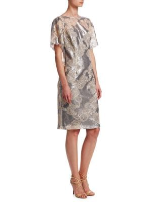 Short Sleeve Sequin Lace Dress by Teri Jon