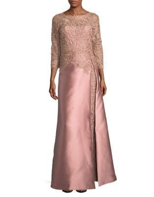 Lace Floor-Length Gown by Teri Jon by Rickie Freeman