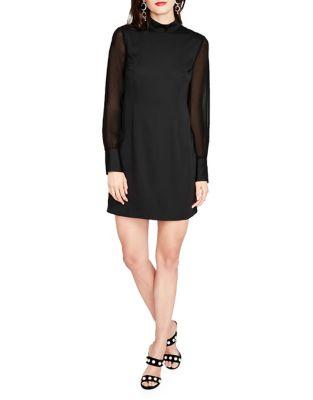 Mockneck Chiffon Sleeve Dress by RACHEL Rachel Roy