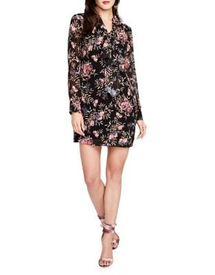 Tie Neck Printed Chiffon Shift Dress by RACHEL Rachel Roy