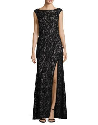 Cap-Sleeve Lace Gown by Betsy & Adam