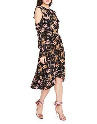Cold-Shoulder Printed Ruffle Midi Dress by RACHEL Rachel Roy