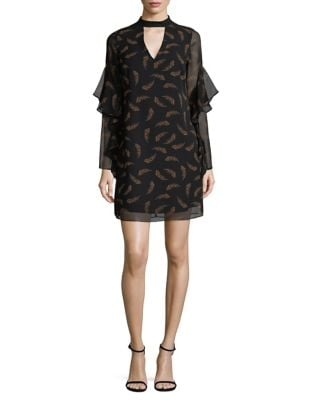 Ruffle-Sleeve Feather Shift Dress by Sam Edelman