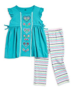 Little Girls TwoPiece Dress and Capri Leggings Set