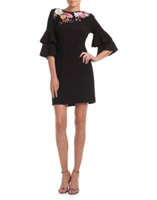 Leona Bell-Sleeve Sheath Dress 500087813251