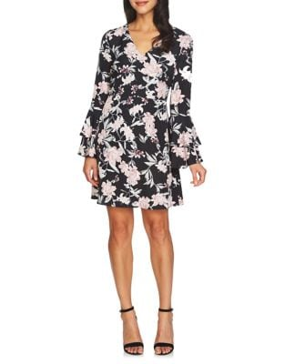 Eden V-Neck Tiered-Sleeve Fit-&-Flare Dress by Cynthia Steffe