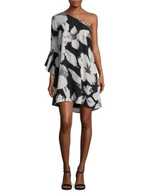 Floral-Print One-Shoulder Dress by Cece