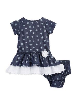 Baby Girls Floral Dress and Bloomers TwoPiece Set