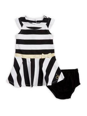 Baby Girls TwoPiece Stripe Dress and Elasticized Bloomers
