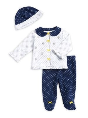 Baby Girls ThreePiece Polka Dot Cotton Top Footed Pants and Beanie Set