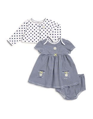 Baby Girls ThreePiece Cotton Jacket Dress and Bloomers Set