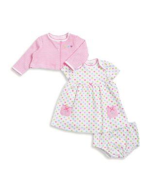Baby Girls ThreePiece Heart Cotton Jacket Dress and Bottom Set