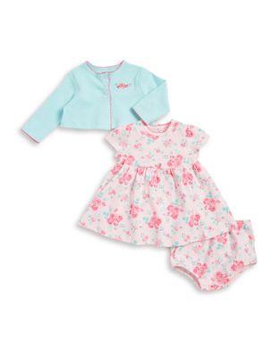 Baby Girls ThreePiece Rose Cotton Jacket Dress and Bottom Set