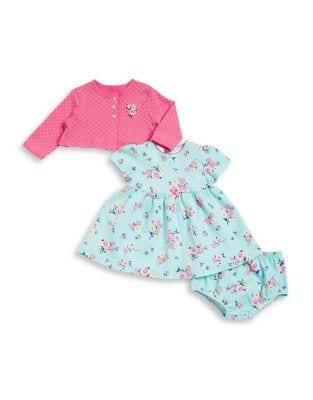 Baby Girls ThreePiece Floral Cotton Jacket Dress and Bottom Set