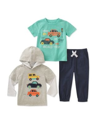 Little Boys ThreePiece Cars Shirt Sweater and Pant Set
