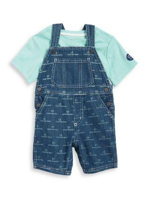 Baby Boys TwoPiece Tee and Denim Overalls Set