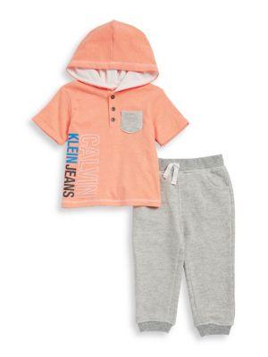 Baby Boys TwoPiece Short Sleeve Hoodie and Pants Set