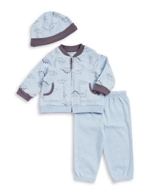 Baby Boys ThreePiece Dino Jacket Pants and Beanie Set