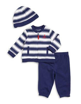 Baby Boys ThreePiece Stripe Jacket Pants and Beanie Set