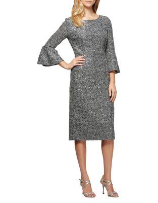 Plus Bell Sleeve Sheath Dress by Alex Evenings