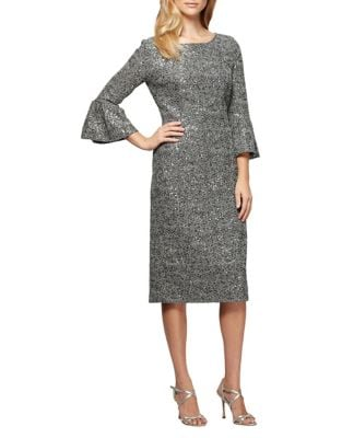Petite Bell-Sleeve Lace Sheath Dress by Alex Evenings