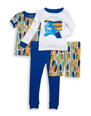 Little Boys FourPiece Beach Motif Cotton Pajama Set