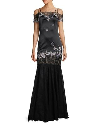 Beaded Lace Gown by Mandalay