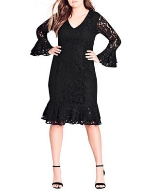 Plus Lace Desire Bell Sheath Dress by City Chic