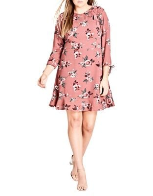 Plus Burgundy Floral Dress by City Chic