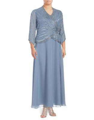 Plus Embellished Faux Wrap Floor-Length Dress by J Kara