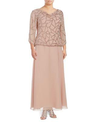 Plus Embellished Floor-Length Dress by J Kara