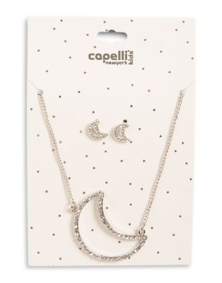 Girl's Two-Piece Moon Pendant Necklace, and Earrings Set 500087824486