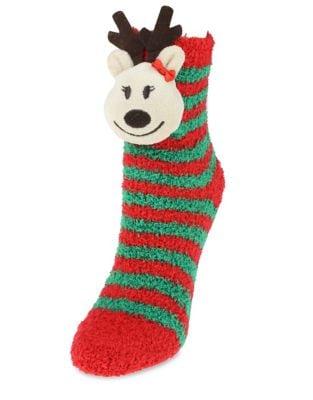 Girls Fuzzy Reindeer Slipper Socks