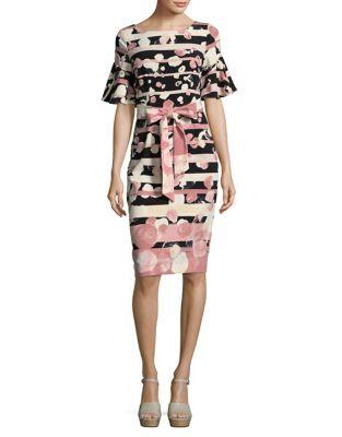 Floral Striped Bodycon Dress by Gabby Skye