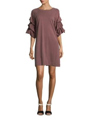 Shirred-Sleeve Cotton Shift Dress by Gabby Skye