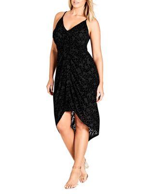 Plus Mod Drape Velvet Dress by City Chic