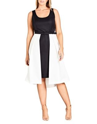 Plus Hepburn Colorblocked Dress by City Chic