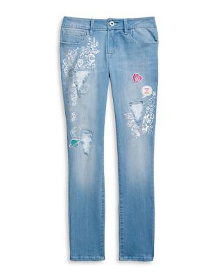 Girl's Kiss Me Destructed Skinny Jeans 500087827688