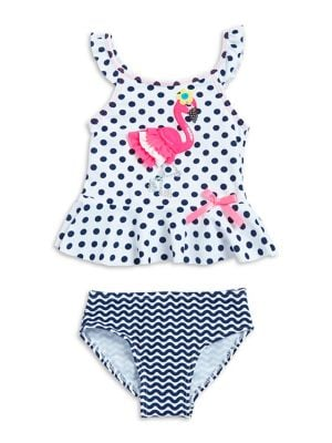 Little Girls Flamingo Tankini Top And Bottom Set