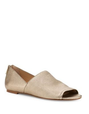 Maxine Metallic Leather Open Toe Flats by Botkier New York