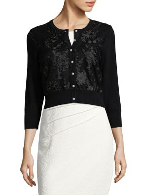 Embroidered Buttoned Cardigan by Karl Lagerfeld Paris