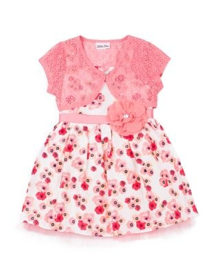 Little Girls TwoPiece Floral Dress and Lace Bolero Set