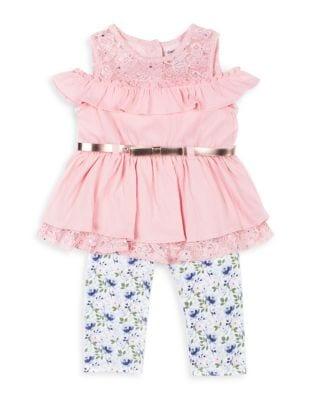 Little Girls TwoPiece Cold Shoulder Top and Capri Leggings Set