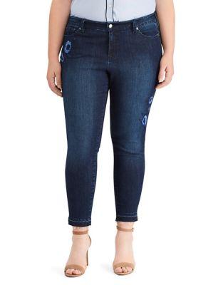 Plus Floral Premier Skinny Crop Jeans 500087836477