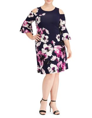 Plus Floral Cold-Shoulder Dress by Lauren Ralph Lauren